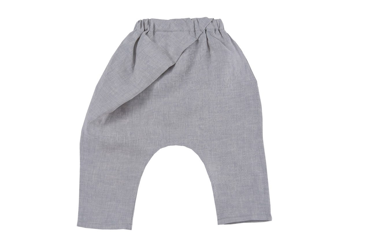 white melange origami pants