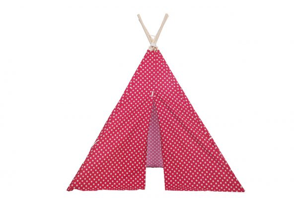 red with white stars tipi