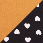 Black with white hearts / Spicy mustard
