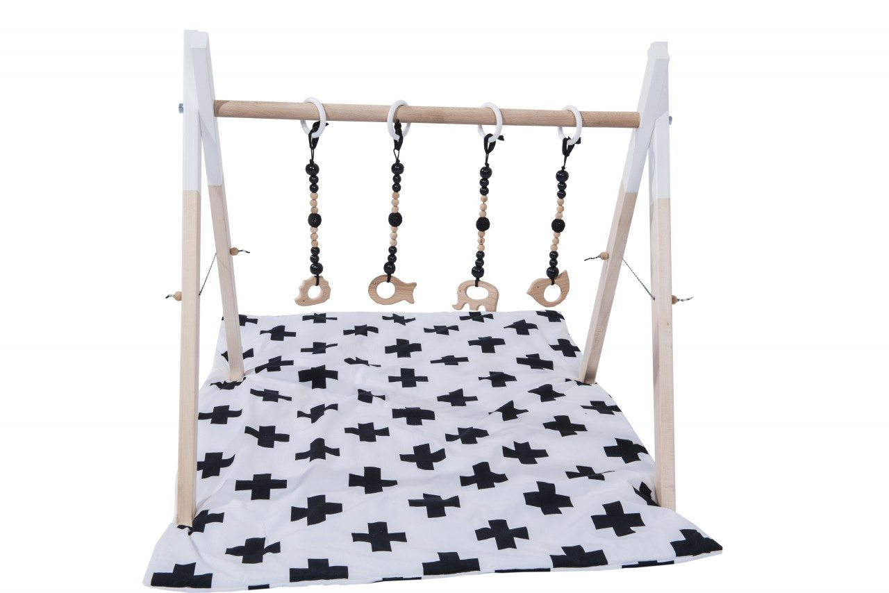 baby gym with black wooden toys