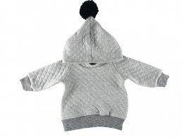 grey hoodie with black pom-pom