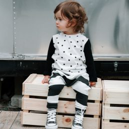 polka dot long sleeve tee and black big butt pants