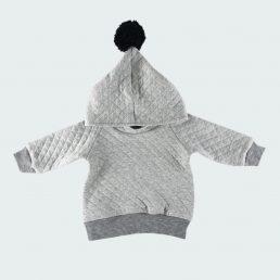 grey melange pom-pom hoodie