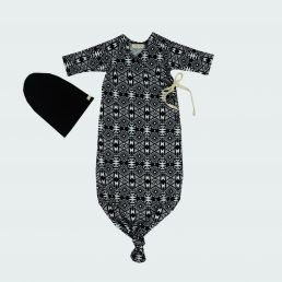 black and white kimono baby gown