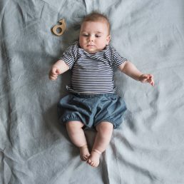 striped tee and denim bloomers