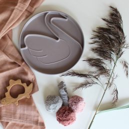 taupe swan plate