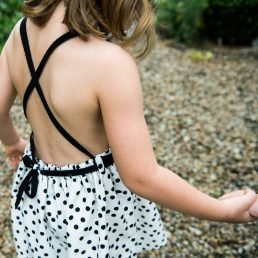 polka dots open back dress