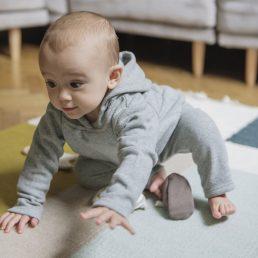 Grey fine-knit baby pants