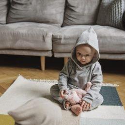 Grey baby fine-knit hoodie