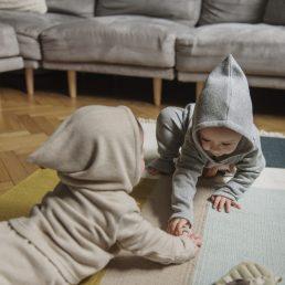 Beige baby fine-knit hoodie