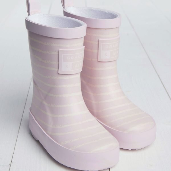Baby pink striped wellies
