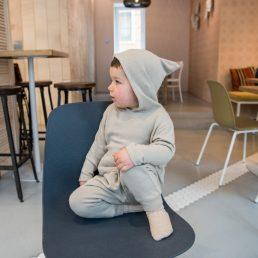 Beige fine-knit hoodie