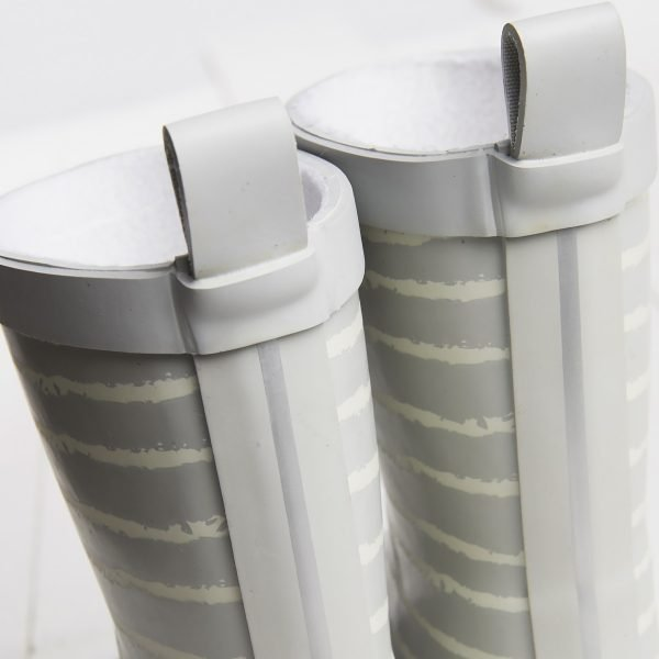 Grey striped wellies