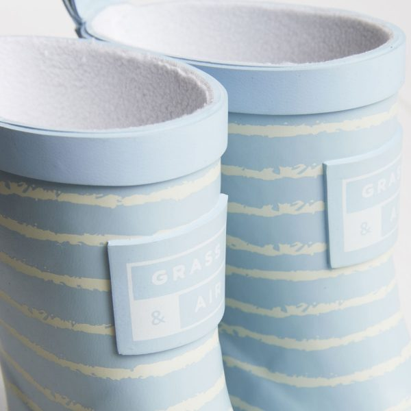 Baby blue striped wellies