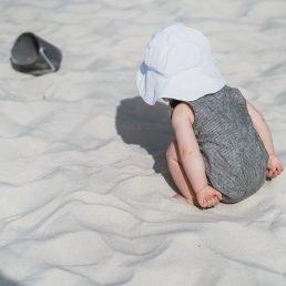White muslin sun hat
