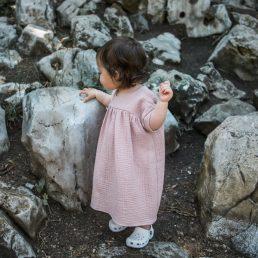 Muslin blush baby dress